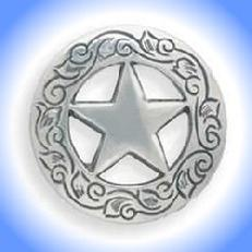 Silver Texas Star Concho.  This concho is a smooth, screw back with Beautiful engraving around the edge.  Sorry it's not real silver, just sliver color, and look.  Of course you get the same deal of Buy 5 and get the 6th one free!!