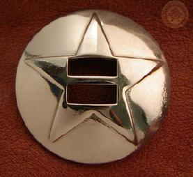 Stainless Steel Conchos, these were our best non-Indian sellers!  These are now your 2nd best sellers behind the 3-D Texas Stars, for other then Indian or Drifter riders.  I like these as you never have to worry about it ever rusting.  If they get scratched just polish it!  $3.50 each (BUY 5 GET 6TH FREE)